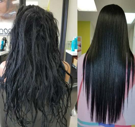 relaja el pelo al momento del cepillado