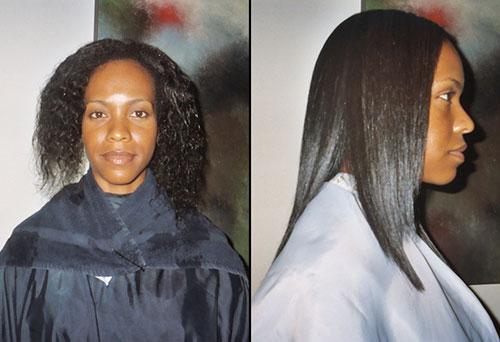 Resultados del alisado japonés para una cabellera rizada