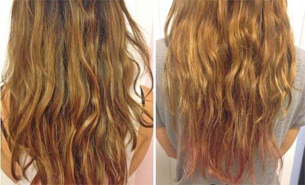 antes y despues de usar el shampoo aclarante