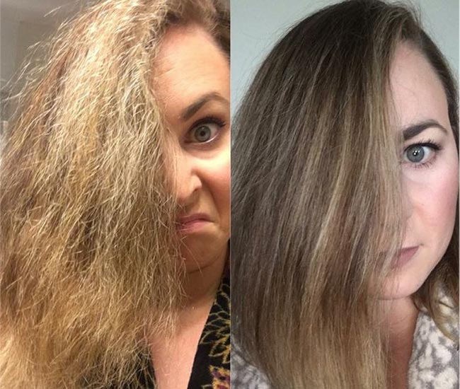 hair damaged by chemicals and dyes