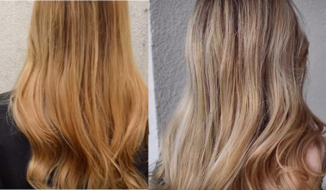 los pelos rubios se tornan anaranjados