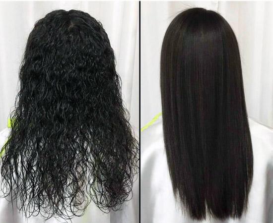 el resultados es un cabello liso y brillante