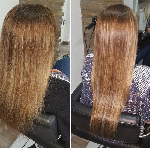 y cabellos secos