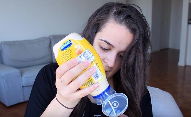 Cabello brilloso con mayonesa