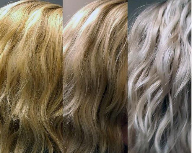 lavando el pelo con shampoo matizador