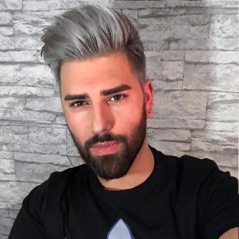 Corte de cabello color gris hombre