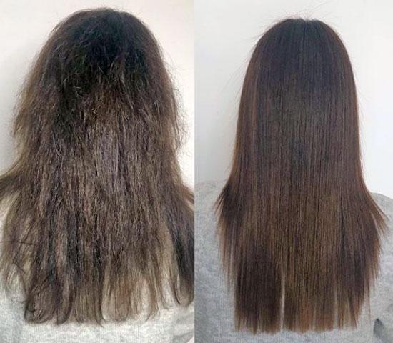 pelo liso y brillante
