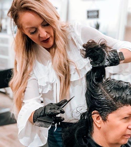 at a hair salon