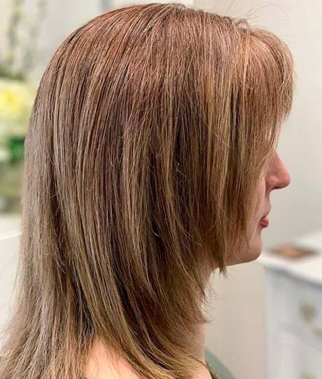 straight hair and medium length