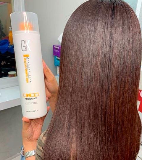shiny and silky hair