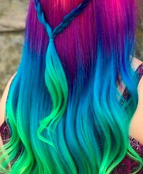 morado, azul y verde