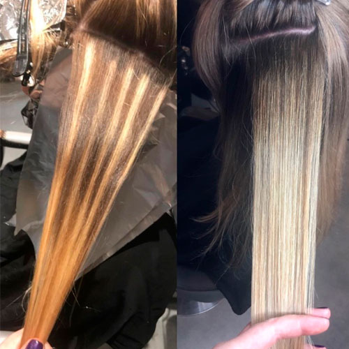 dividing lines along the hair