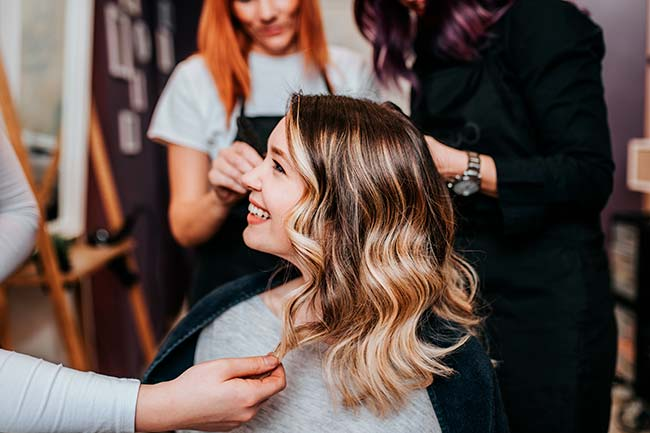blonde highlights in hair salon